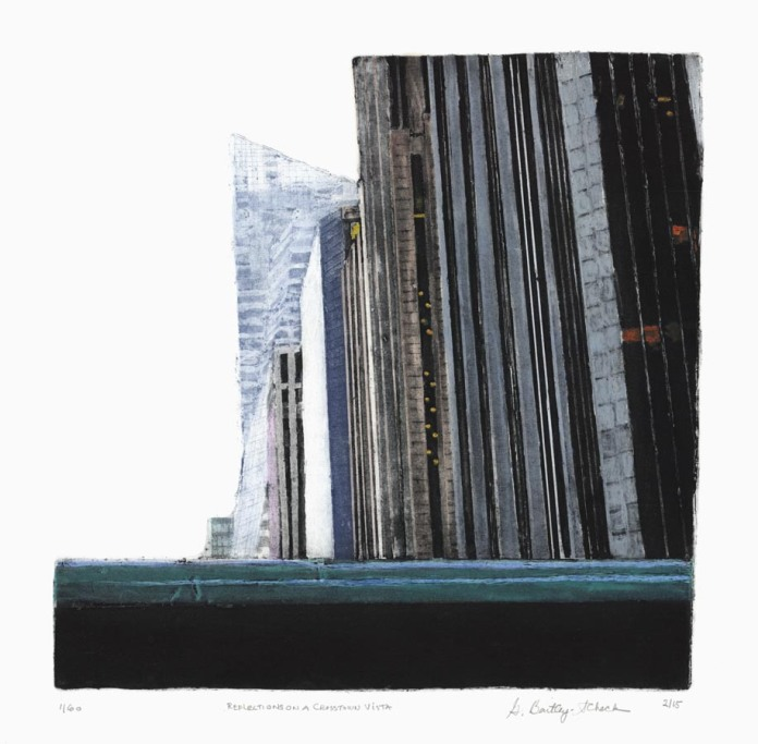 """Reflections on a Crosstown Vista.  Grace Bentley-Scheck. Collagraph, 2015 Image size 12 1/16 x 12 1/16"""" (30.7 x 30.7 cm)."""